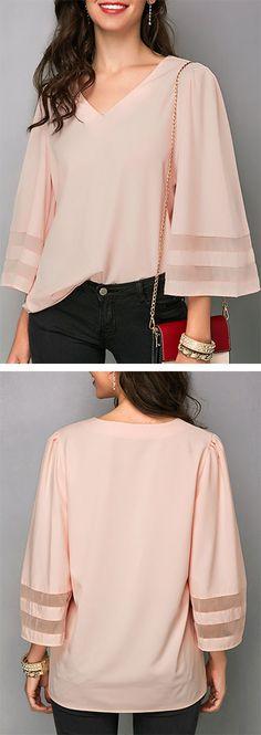 Patchwork V Neck Three Quarter Sleeve Blouse Trendy Tops For Women, Blouses For Women, V Neck Blouse, Work Attire, Blouse Styles, Shirt Blouses, Shirts, Quarter Sleeve, Knitwear