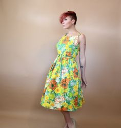 1960s Floral Day Dress Pennys Brentwood Frocks by lovethatlingers