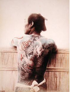 This is a picture of a 1880 Japanese man with a Bridgeman's tattoo. These were new in their society, and represented a plethora of different meanings. Many of the men with these tattoos were rebels and did not abide by the empire's rules.