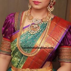Aren't Pattu sarees and puff sleeve blouses a match made in heaven? Try these dramatic puff sleeve blouses for pattu sarees now! Stylish Dress Designs, Stylish Blouse Design, Fancy Blouse Designs, Bridal Blouse Designs, Traditional Blouse Designs, Traditional Sarees, Saree Blouse Neck Designs, Blouse Patterns, Gold Jewelry