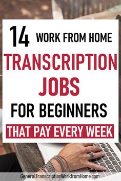 Work from home transcription jobs for beginners that pay every week. No experience needed. Get transcription experience while making extra money. Earn More Money, Earn Money From Home, Earn Money Online, Way To Make Money, Earning Money, Transcription Jobs For Beginners, Transcription Jobs From Home, Work From Home Opportunities, Career Opportunities
