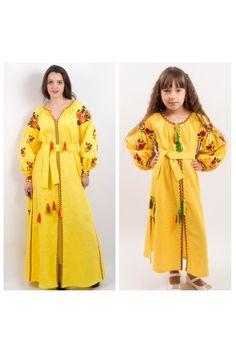 Сімейний комплект для матері та доньки «Українська традиція» – це дві стильні вишиті жовті сукні. Raincoat, Jackets, Fashion, Rain Jacket, Down Jackets, Moda, Fashion Styles, Fashion Illustrations