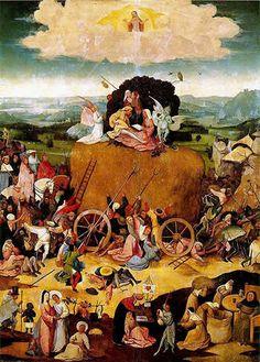 """El carro de heno. El Bosco - El Bosco se muestra especialmente en esta obra como un pintor moralista teñido de ironía.   El HENO representa las riquezas temporales (que se acaban) y son objeto de la codicia generalizada, tanto de ricos como de pobres    Tabla central: se representa un proverbio popular flamenco: """"La vida es un carro de heno y cada cual toma todo lo que puede de él"""""""