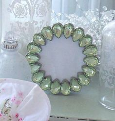 Shabby Vintage Charm Crystal Green Cottage Chic Teardrop Jeweled Photo Frame   eBay
