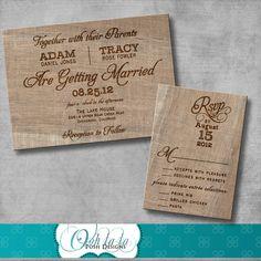 Rustic Burlap Wedding Invitation with by OohlalaPoshDesigns