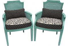 Aqua Cane Armchairs, Pair on  Love the contrast of color....