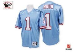 Warren Moon Men s Authentic Light Blue Jersey  Mitchell and Ness NFL  Tennessee Titans Home   d5fc821cd