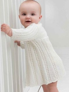 Need a cute white dress? We suggest this one!  http://www.themodernknit.com/2014/06/30/pattern-adorable-white-knitted-baby-dress/