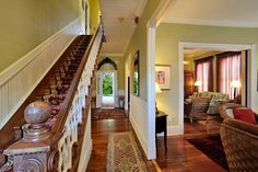 The simply gorgeous classic wooden staircase at the Classic Key West Estate originally built by a seafaring merchant seaman. http://vacationhomesofkeywest.com/classic-key-west-estate-vacation-rental.html