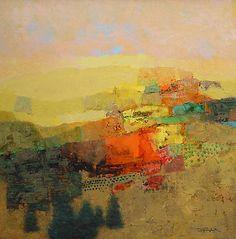 "rickstevensart: ""Mark English | Yellow Landscape | oil on panel | 25 x 25"" """