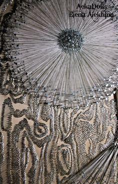 """Панно из гвоздей и ниток """"Иллюзия ткачества"""" - серебряный,панно,панно на стену"""