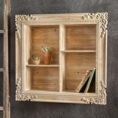 This beautiful shadow box is one of a kind. This shadow box features 4 niches and detailed carving around the frame. Mounts to wall with keyhole hangers. Shabby Chic Decor, Vintage Home Decor, Rustic Decor, Farmhouse Decor, Diy Home Decor, Shabby Chic Shelves, Modern Farmhouse, Rustic Wood, Ideas Para Madera