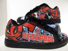 Men's DC comic book shoes made with Deadpool comics handmade on Etsy for $100! www.etsy.com/shop/custombykylee