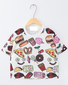 Cartoon doughnut and hamburger midriff-baring cotton T-shirt $17.90