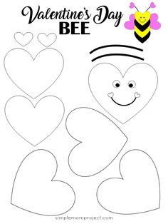 Easy to Make Valentine's Day Bee Paper Craft FREE Printable Template - Simple Mo. - Easy to Make Valentine's Day Bee Paper Craft FREE Printable Template – Simple Mom Project Imáge - Valentines Bricolage, Valentine Crafts For Kids, Homemade Valentines, Valentine Box, Valentine Wreath, Valentine Ideas, Easy Toddler Crafts, Valentine's Day Crafts For Kids, Kids Diy