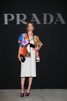 Sasha Pivovarova attends the Prada show during Milan Men's Fashion Week SS17 on June 19, 2016 in Milan, Italy. #FROW