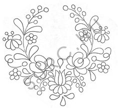 Floral Embroidery Patterns, Hand Embroidery Stitches, Hand Embroidery Patterns, Folk Art Flowers, Wreath Drawing, Hungarian Embroidery, Painting Patterns, Goddess Art, Moon Goddess