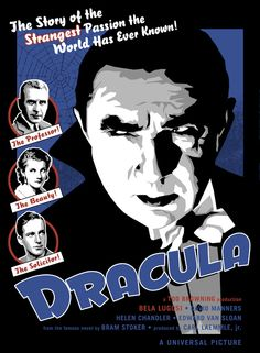 Universal Classic Monsters Poster Art : Dracula, 1931 by Robert J. Classic Monster Movies, Classic Horror Movies, Classic Monsters, Horror Movie Posters, Horror Films, Horror Art, Vampire Pictures, Vampire Stories, Pin On