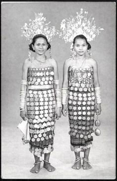 1950s Borneo Malaysia Dayak Women Coin Costume