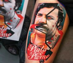 Pablo Escobar tattoo by Dave Paulo
