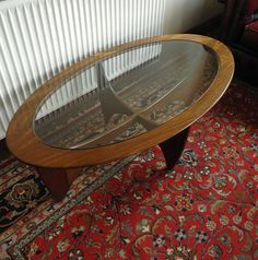 G Plan Astro Mid-century Teak Glass Top Oval Coffee Table