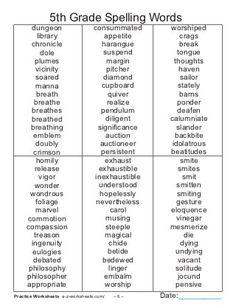 19 Best Images of Sight Words Worksheets Grade - Grade Sight Word List, Grade Spelling Word List and Fifth Grade Sight Words List 5th Grade Sight Words, 6th Grade Spelling Words, Sight Words List, 6th Grade Ela, Spelling Practice, 6th Grade Reading, Ninth Grade, Seventh Grade, Hard Spelling Bee Words
