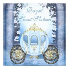 "Blue Princess Carriage Enchanted Sweet 16 5.25"" Square Invitation Card"