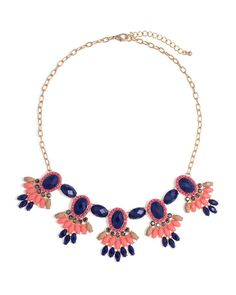 Carmen Necklace - in Coral and Navy
