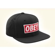 e3633bb96cc Casquette Obey noir Original snapback black ( 36) ❤ liked on Polyvore  featuring accessories