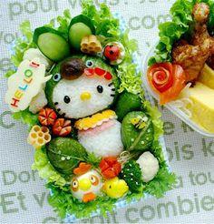 Hello Kitty food art for my #NuggetSmiles board.