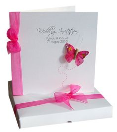 bespoke flutter hot pink wedding invitation card