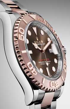The Rolex Yacht-Master 40 in Everose Rolesor with a chocolate dial.