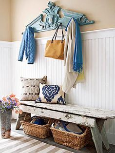 Use what you have to create an organized and stylish entry way. Love the baskets tucked away for easy storage.