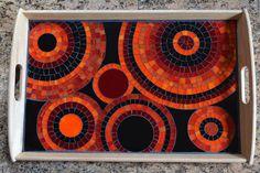 Mosaico de vidrio hecho a mano bandeja de servicio