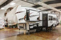 New 2013 35X12 Fifth 5th Wheel Toy Hauler Camper with Slide Out 12 ft Garage Gel Coat, Fuel Station, Generator, Washer Dryer Prep