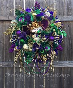 Your place to buy and sell all things handmade Mardi Gras Centerpieces, Mardi Gras Decorations, Mardi Gras Wreath, Mardi Gras Beads, Diy Wreath, Wreaths, Wreath Ideas, Holiday Fun, Holiday Decor