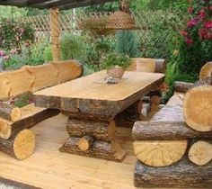 log picnic table & benches :: Hometalk