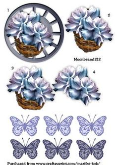 Step by step bleu roses and butterflies on Craftsuprint designed by Marijke Kok - Step by stel roses and butterflies on a wheel, for yor own beautiful card! - Now available for download!