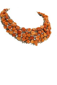 Luise Coral Rose Pearl Diamond Choker Necklace 2
