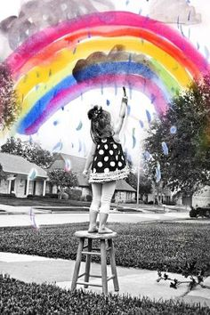Photoshop a piece of your child's artwork with a picture of your child and voila! a cool little image to hang or frame