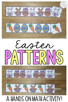 Children recognize the pattern on each card and sequence the next picture. Hands on math for Kindergarten! Math Games, Math Activities, Math Patterns, Math Magic, Kindergarten Math, Math Centers, Easter, Hands, Learning