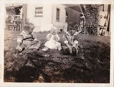 Old Antique Vintage Photograph Adorable Little Babies Sitting on Front Lawn