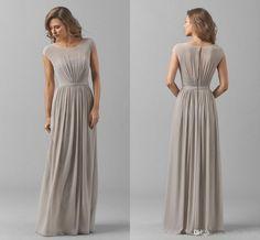 2017 New Arrival Bridesmaid Dress Long Jewel Short Sleeve D Pleats Chiffon Bridesmaids