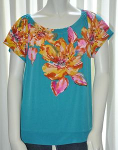 Womens Shirt Top Outback R Size Large L Green w Floral Print #Blouse #Casual