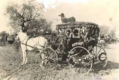 Photo from 1891, Tournament of Roses. The first Rose Parade was held January 1, 1890, as a promotional effort to showcase Pasadena's Mediterranean-like paradise to East Coast neighbors. Horse-drawn carriages decorated with flowers were the main attraction of the parade.