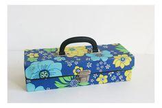 Retro cassette carrier case box flower power by vintagemoodsNL