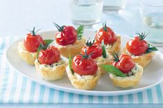 Blue Cheese tarts with roasted cherry toms - finger food