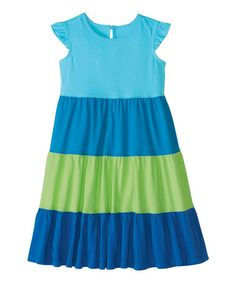 Look what I found on #zulily! Blue Twirly Color Block Dress - Infant, Toddler & Girls #zulilyfinds