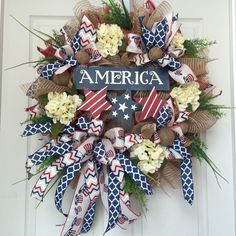 Country Patriotic 4th of July Red, White, and Blue Summer Mesh Burlap Wreath by WilliamsFloral on Etsy https://www.etsy.com/listing/235154052/country-patriotic-4th-of-july-red-white