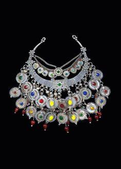 Iran, Afghanistan and Pakistan | Necklace from the Balochistan region; silver, various coins (British, Persian and Ottoman) and glass | ca. after 1941 (embossed date on the Persian coins) | 750€ ~ sold (Nov '14)
